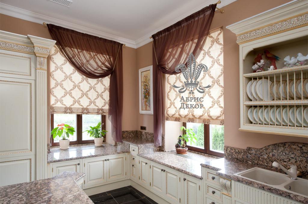 Римские шторы фото в интерьере на кухне