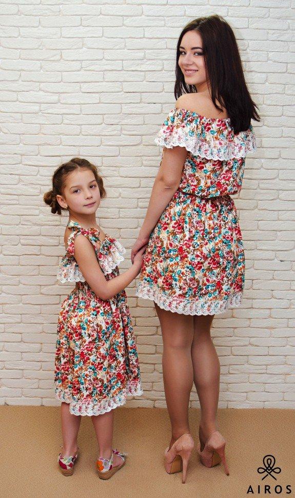 Платье для мамы и дочки в одном стиле сшить 49
