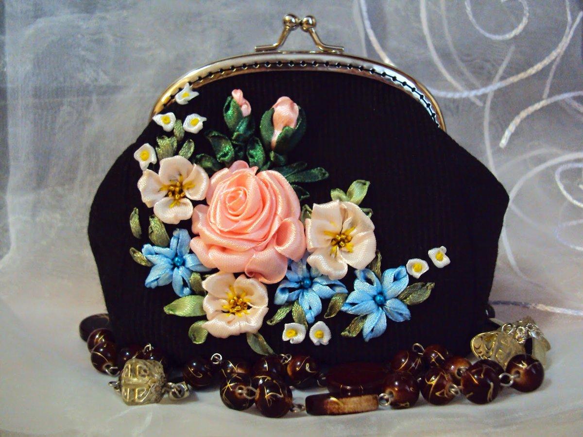 Как сделать розу на сумку