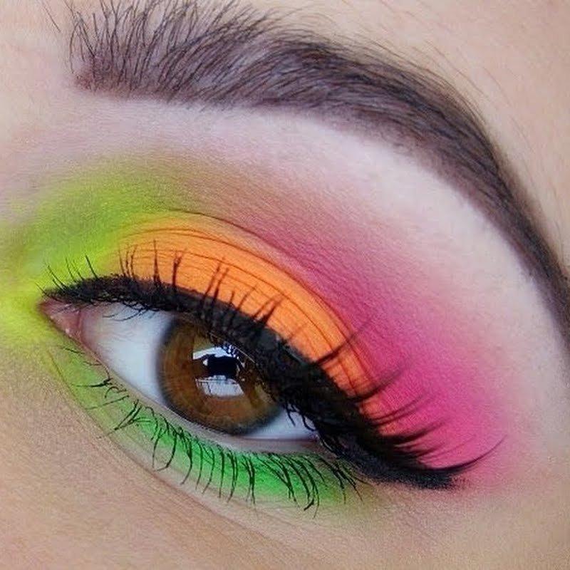 Макияж глаз цветными тенями фото