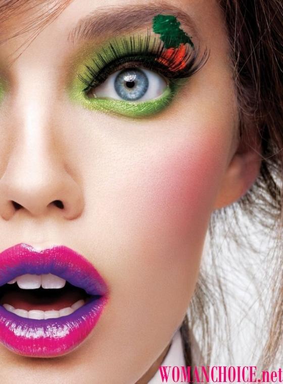 Яркие макияж
