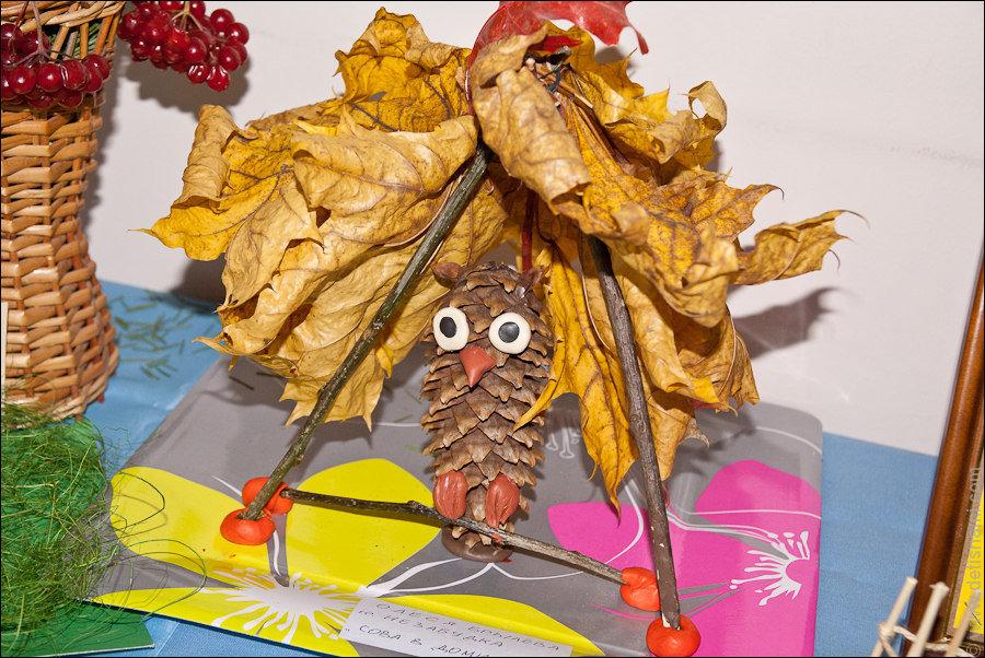 Поделки из шишек и желудей и листьев