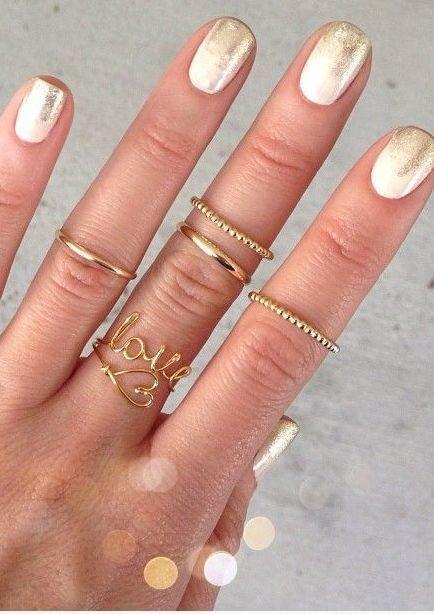 Маникюр на свадьбу с золотом
