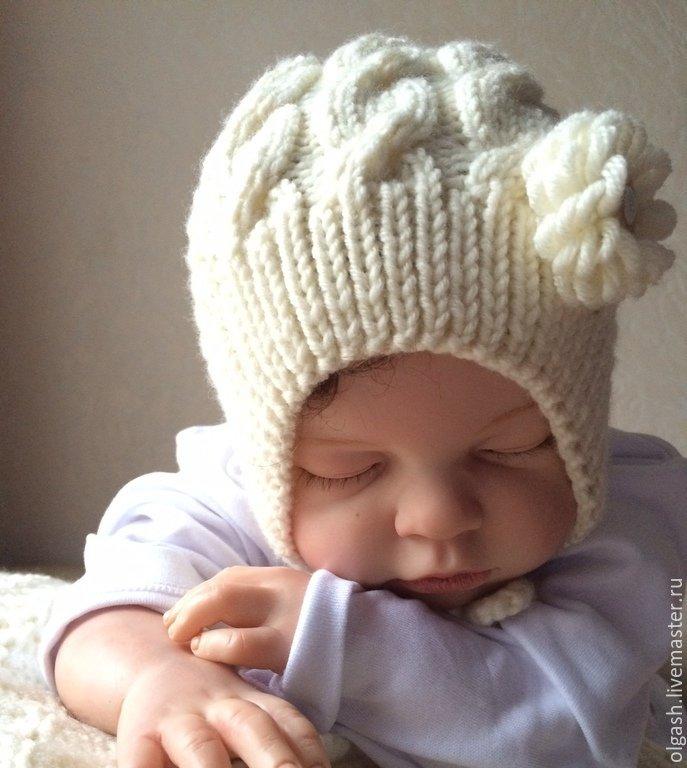 Детская шапочка спицами для новорожденных схема фото