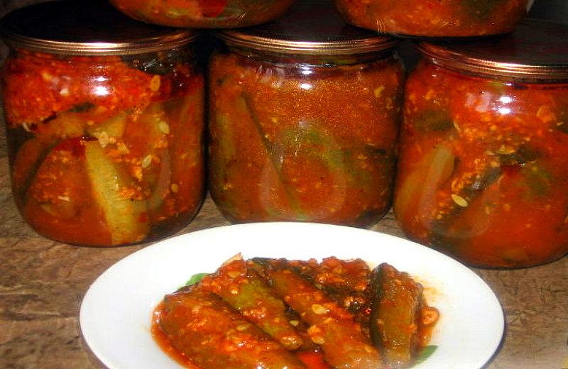 Как сделать огурцы в томатном соусе на  794