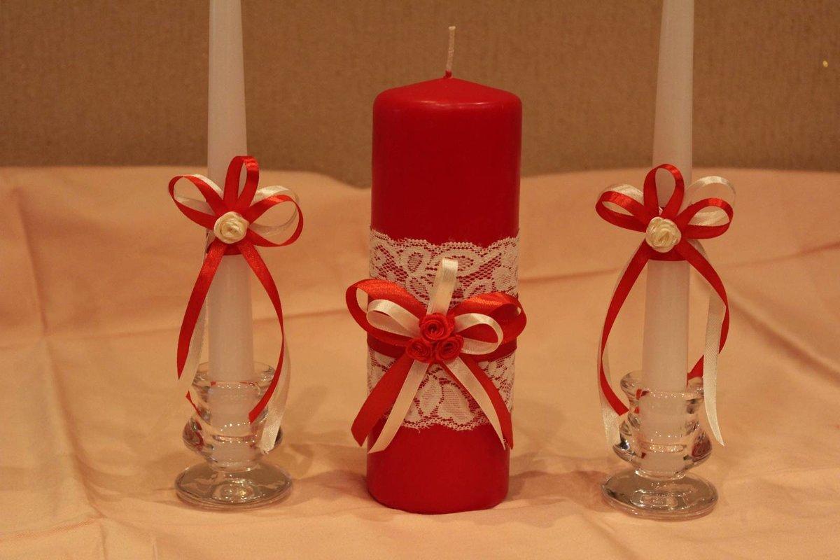 Украшение свадебных свеч своими руками 50