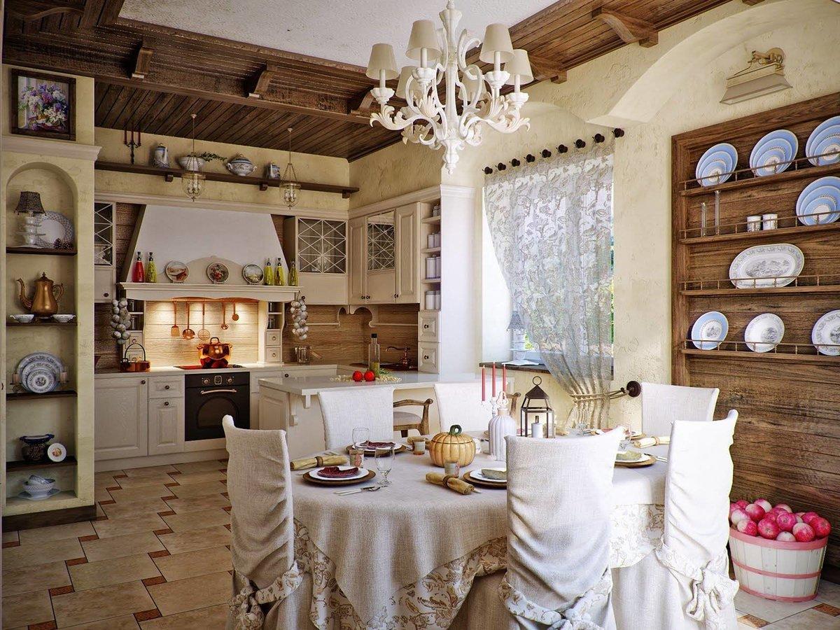 Дизайн кухни в деревенском стилегалерея интерьера