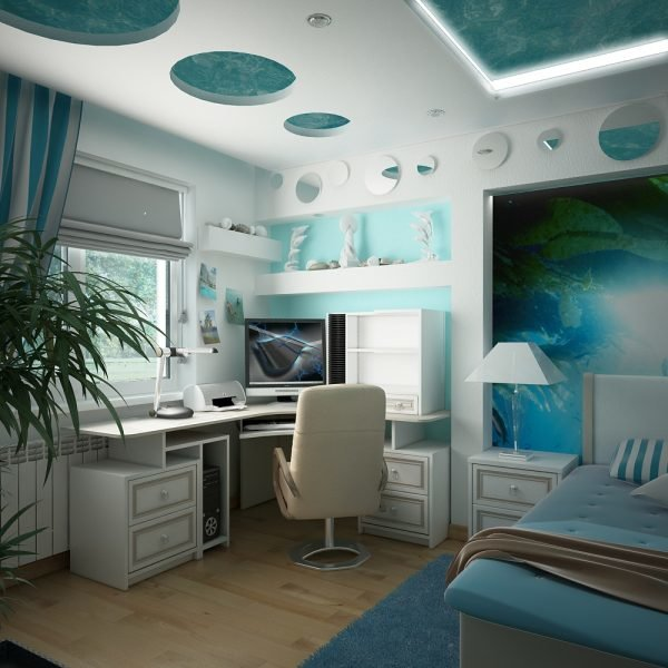 Фото дизайн потолка в комнате подростка