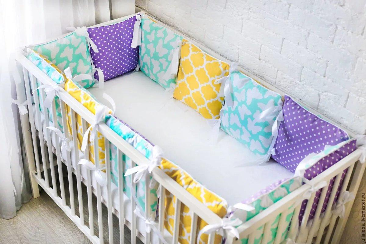 Бортики в кроватку малыша своими руками: идеи, выкройки 92