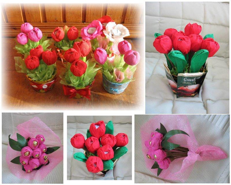 Как сделать цветы поделка на подарок