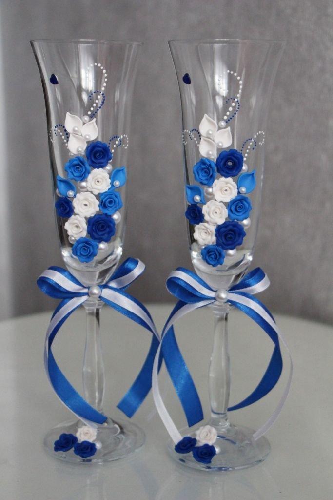 Свадебных бокалов своими руками синий 83
