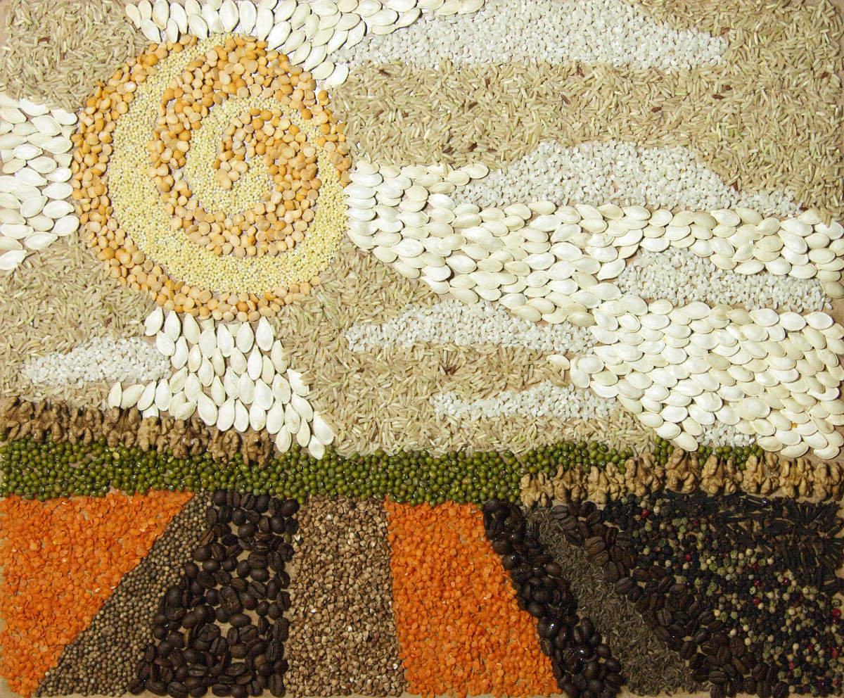 Картины из крупы и семян своими руками