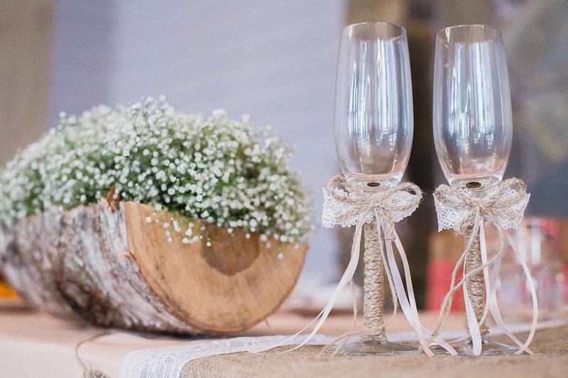 Бокалы на свадьбу в стиле эко