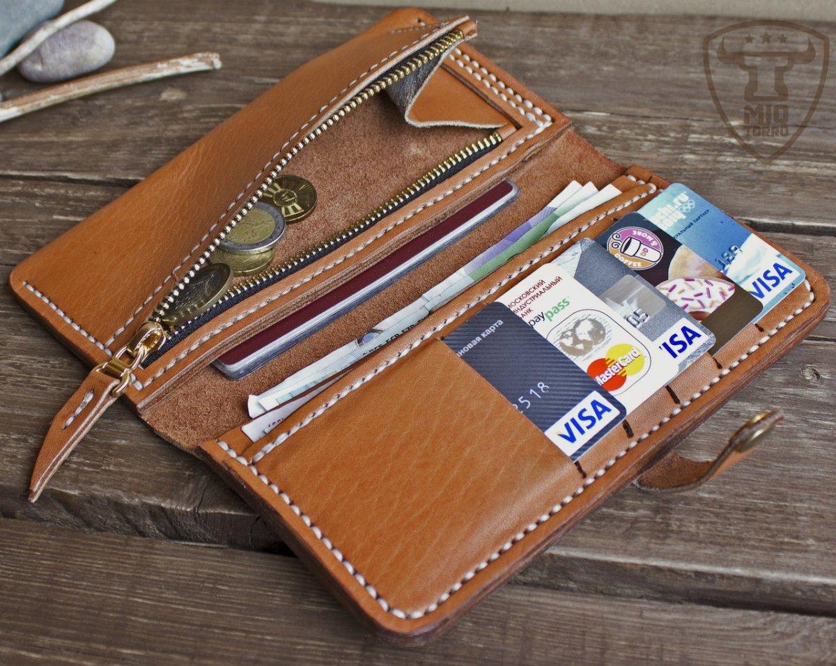 Бумажник кожаный ручной работы