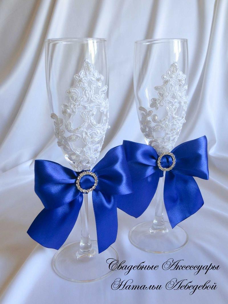 Свадебных бокалов своими руками синий 24