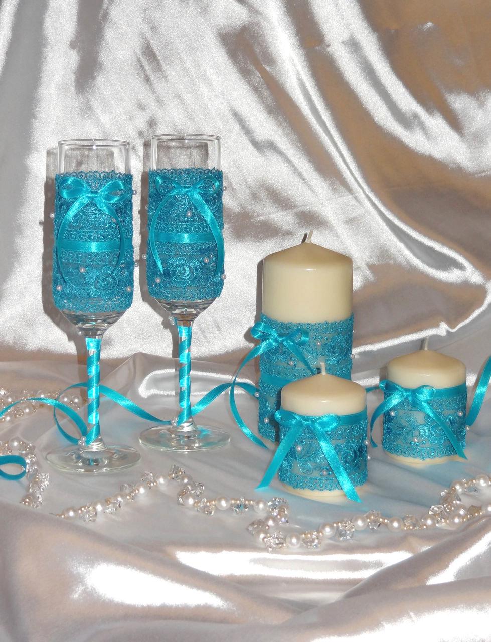 Свечи и фужеры для свадьбы своими руками