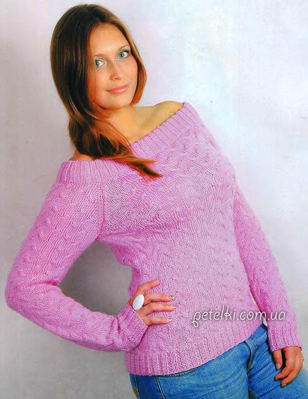 Вязание женских пуловеров спицами из тонких ниток 72