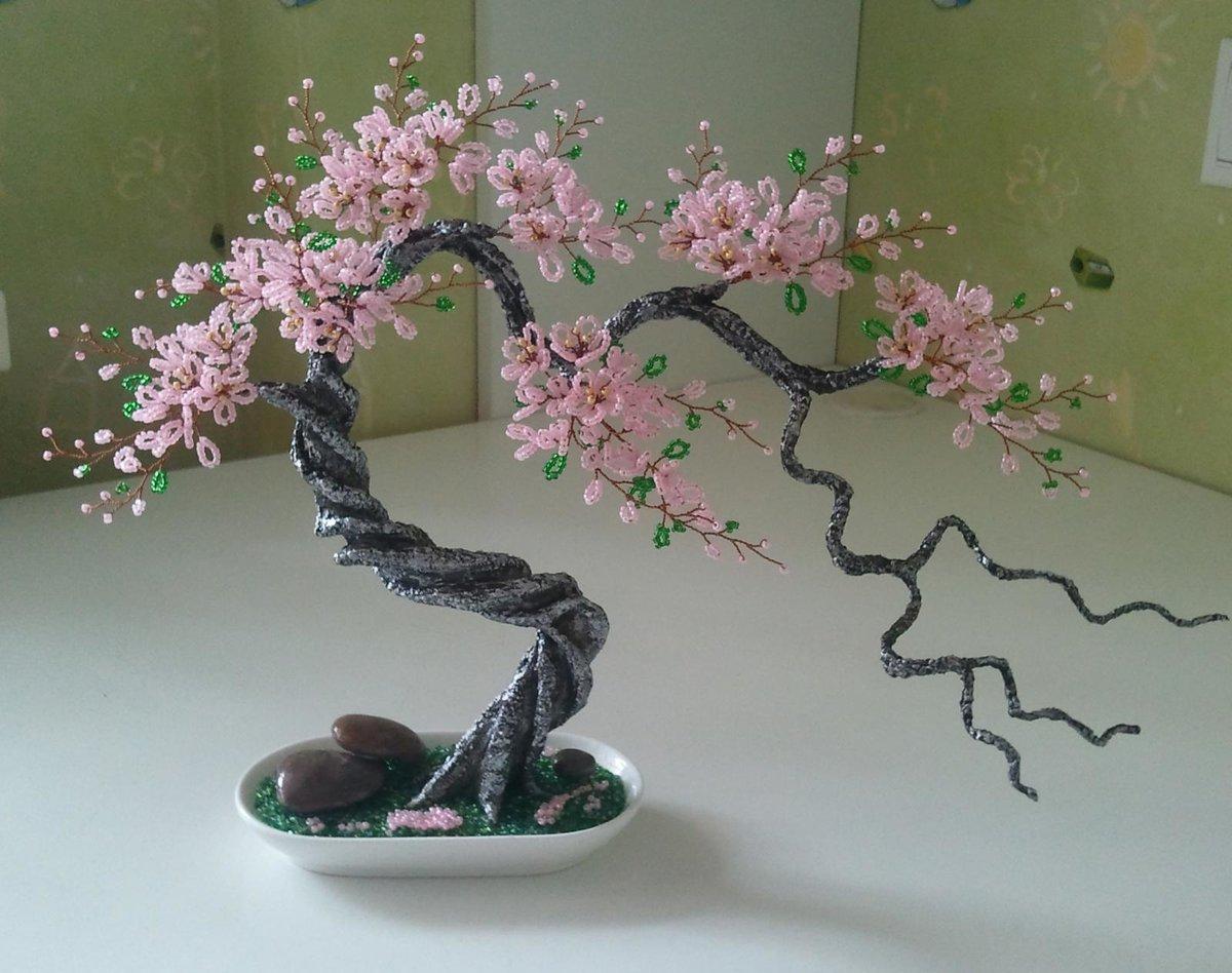 Как сделать сакуру дерево из бисера фото