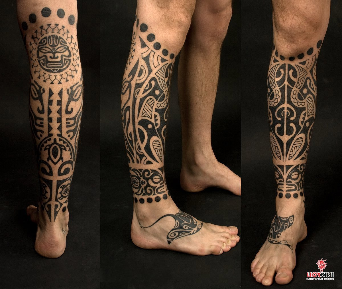 Узор мужской на ноге фото тату