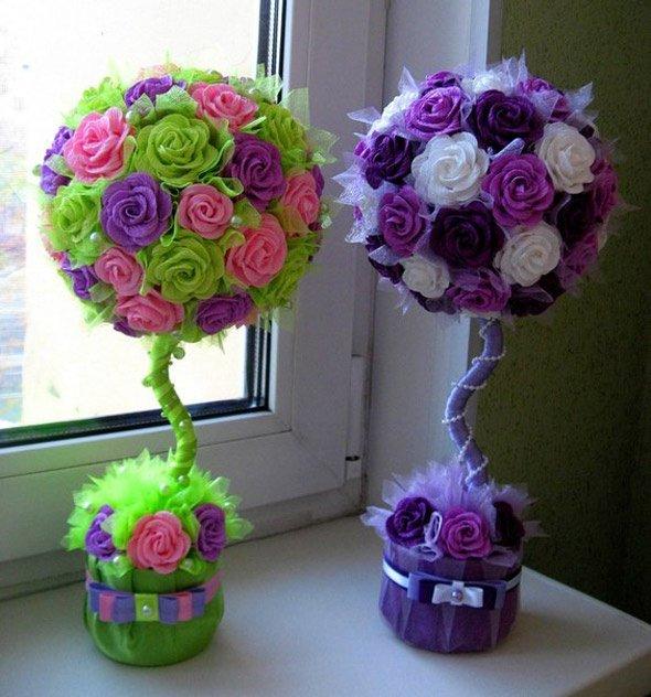 Как сделать дерево с цветами 522