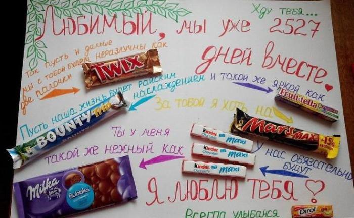 Открытка с шоколадками и надписями мужу