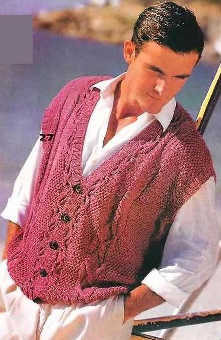 Вязание мужского жилета на пуговицах