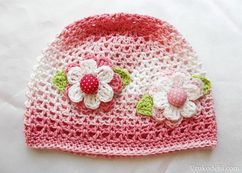 Вязанье шапочки летние для девочки 127