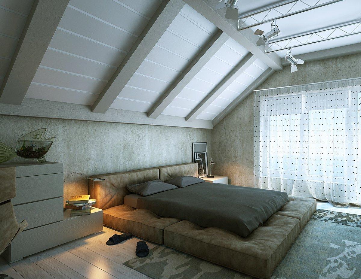 Дизайн потолка спальни на мансарде