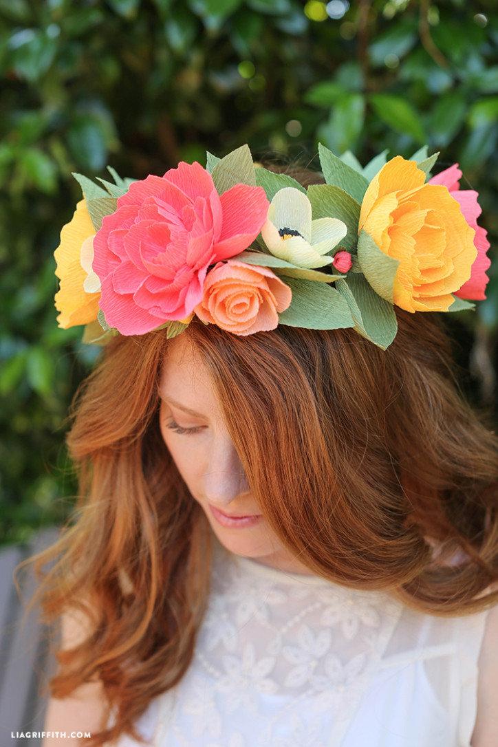 Как сделать венок из цветов на голову своими руками из бумаги