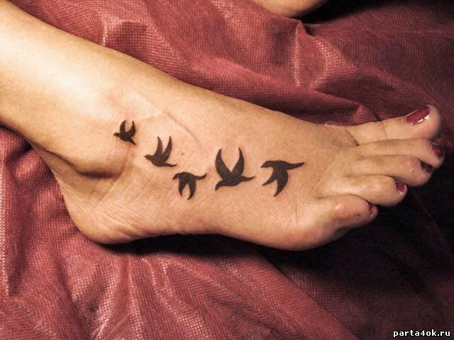 Тату птиц на ноге для девушек фото