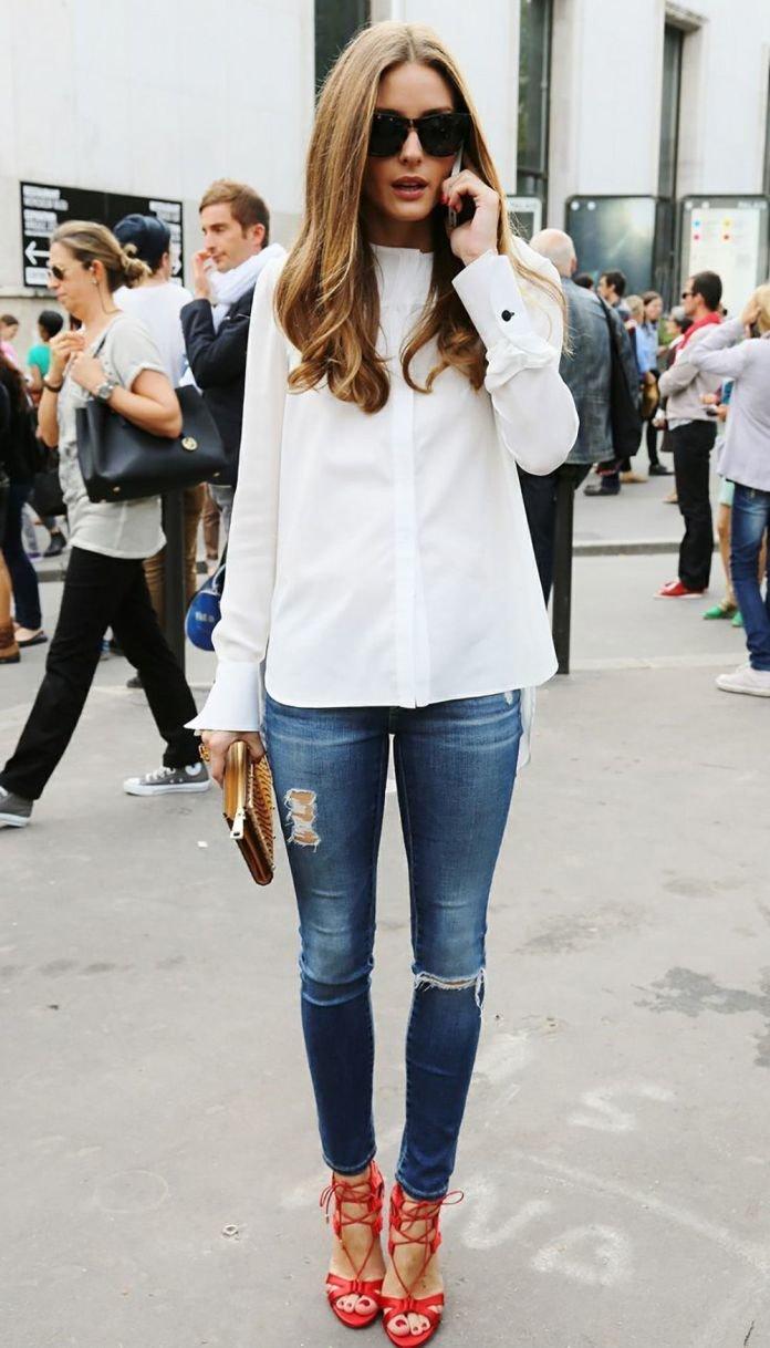 Как стильно носить джинсы с рубашкой девушке фото 2017