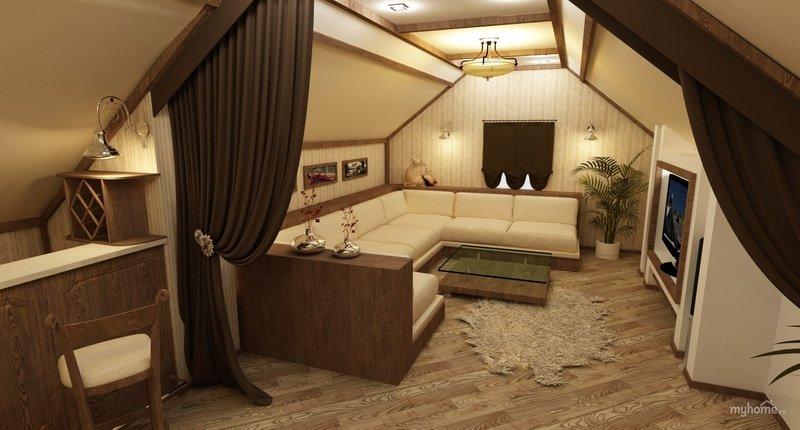 Дизайны интерьеров в доме с мансардой