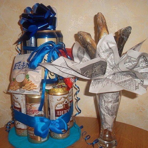 Подарок из пива в банках своими руками и букет из рыбы