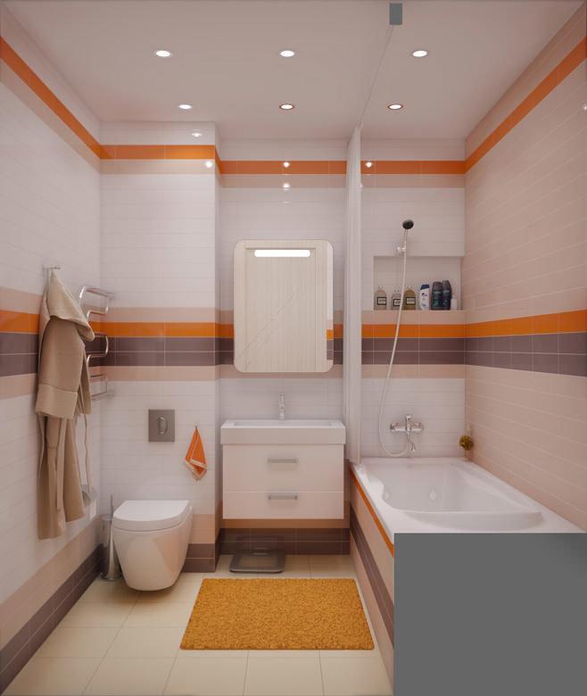 Дизайн для маленькой совмещенной ванной комнаты 81