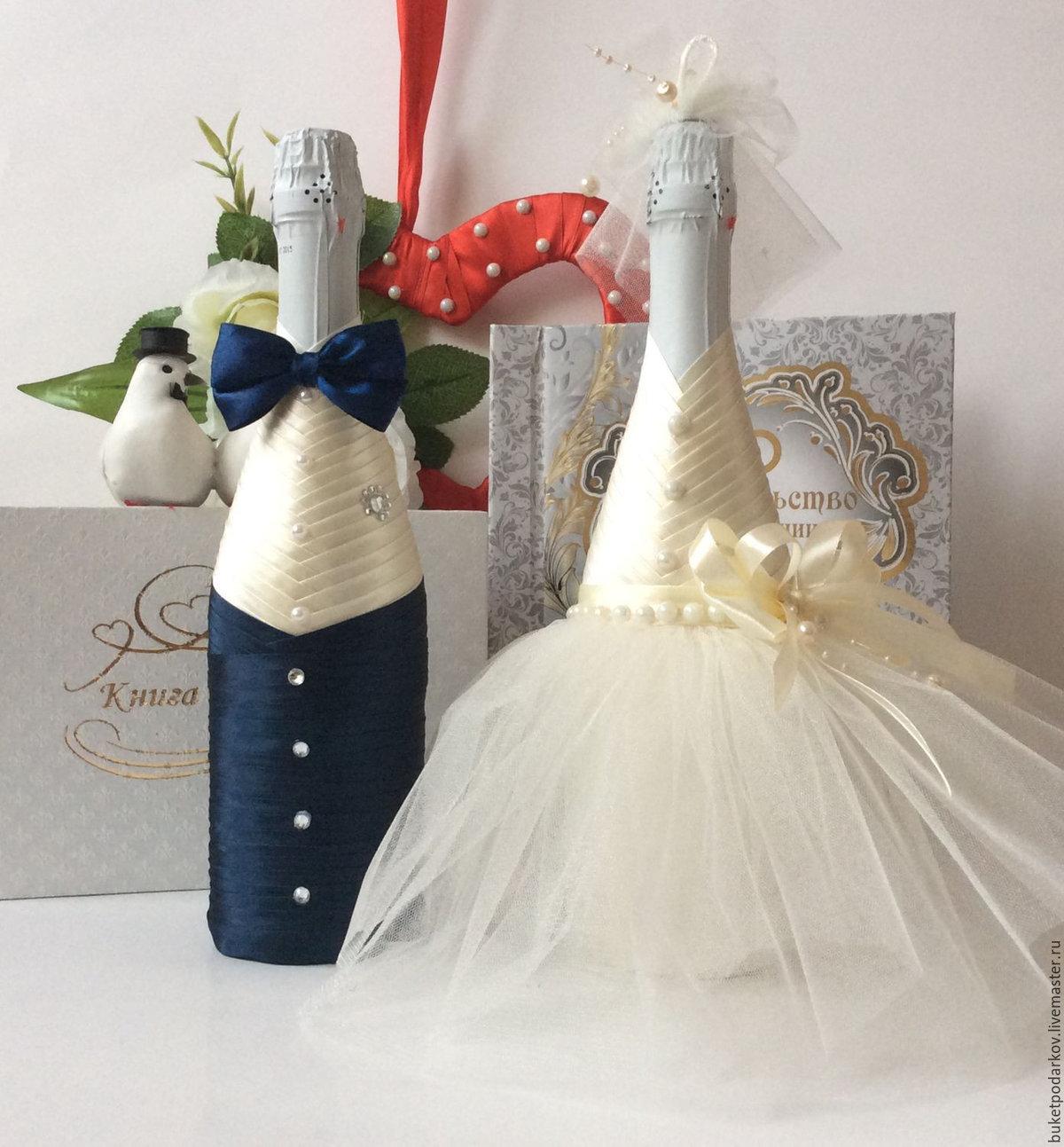 Как сделать свадебные бутылки своими руками мастер класс 576
