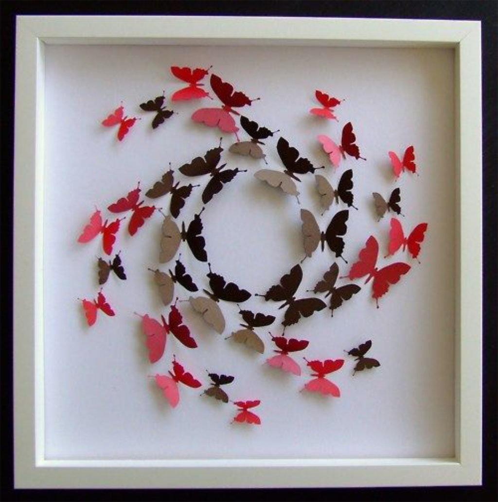 Бабочки в рамке на стену своими руками 24