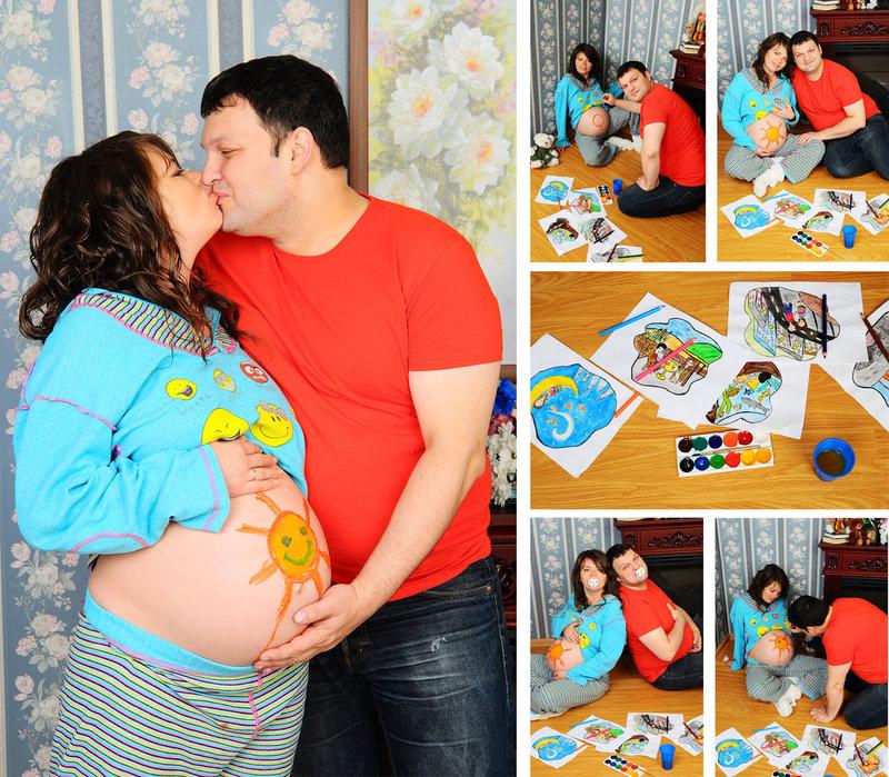 Беременная с мужем и ребенком