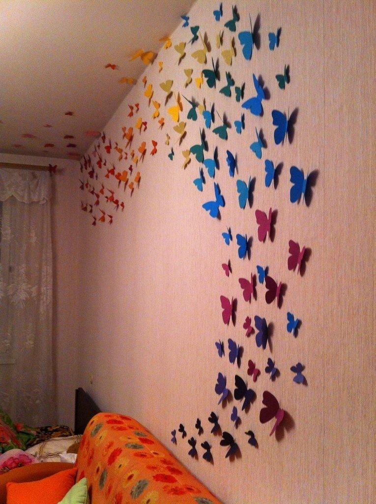 Как сделать бабочку из бабочек на стене 692