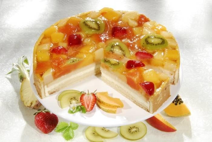 Торт с желатином и фруктами фото рецепт