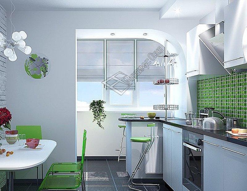 Совмещенная кухня балкон.