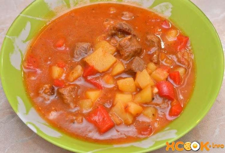 Суп гуляш из говядины в мультиварке рецепт с фото