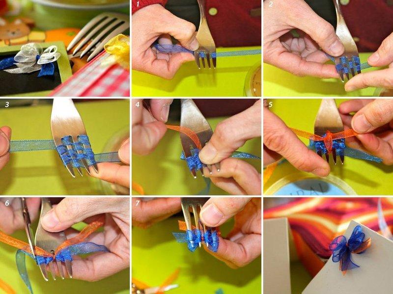 Как сделать на вилке бантик