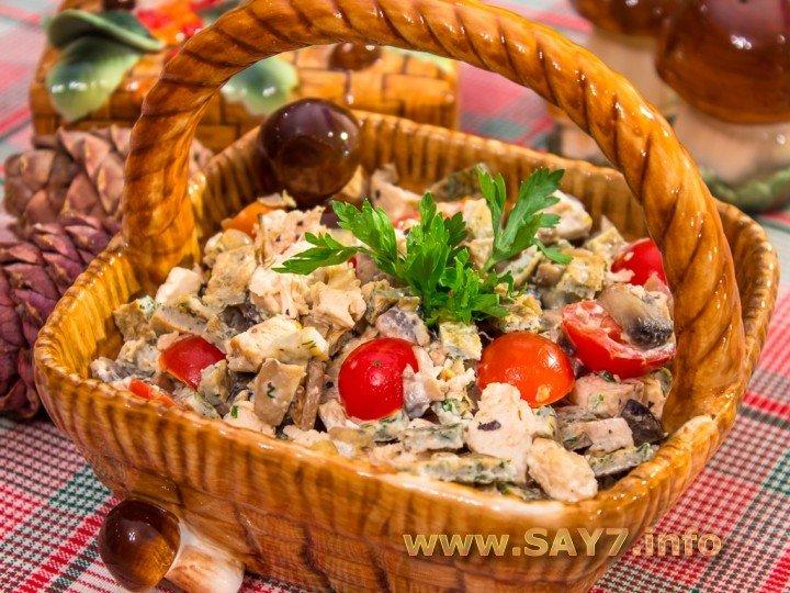 Блинный салат с грибами рецепт
