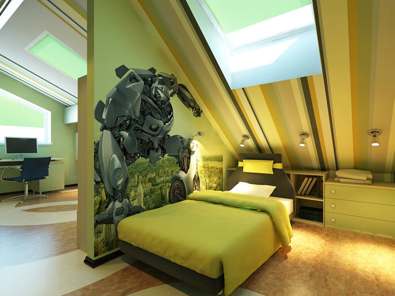 Мансардная комната для подростка мальчика дизайн