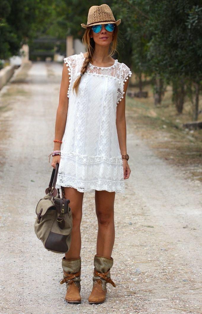 С чем носить белое кружевное платье летом