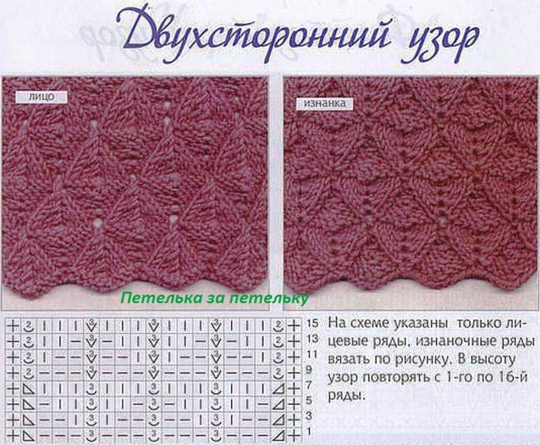 Двусторонние узоры спицами схемы с описанием