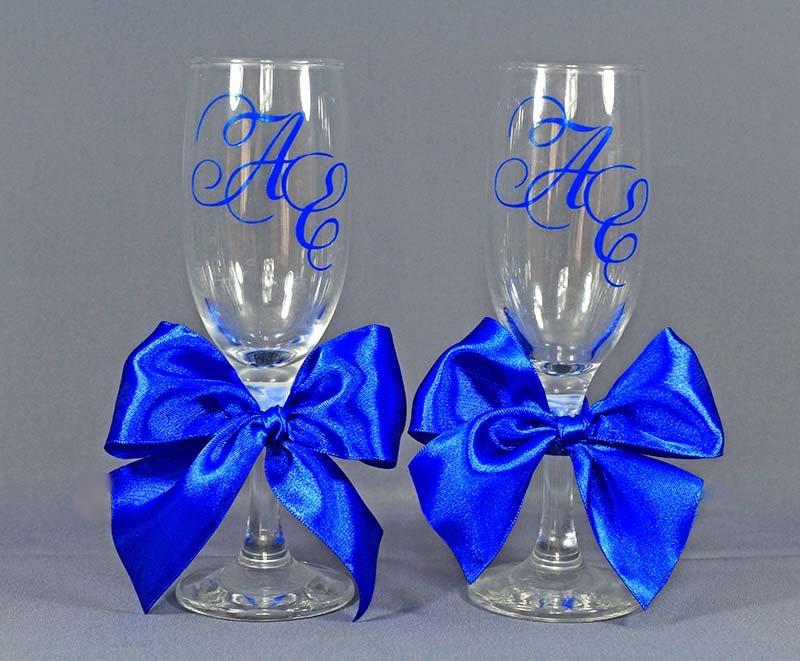 Свадебных бокалов своими руками синий 44