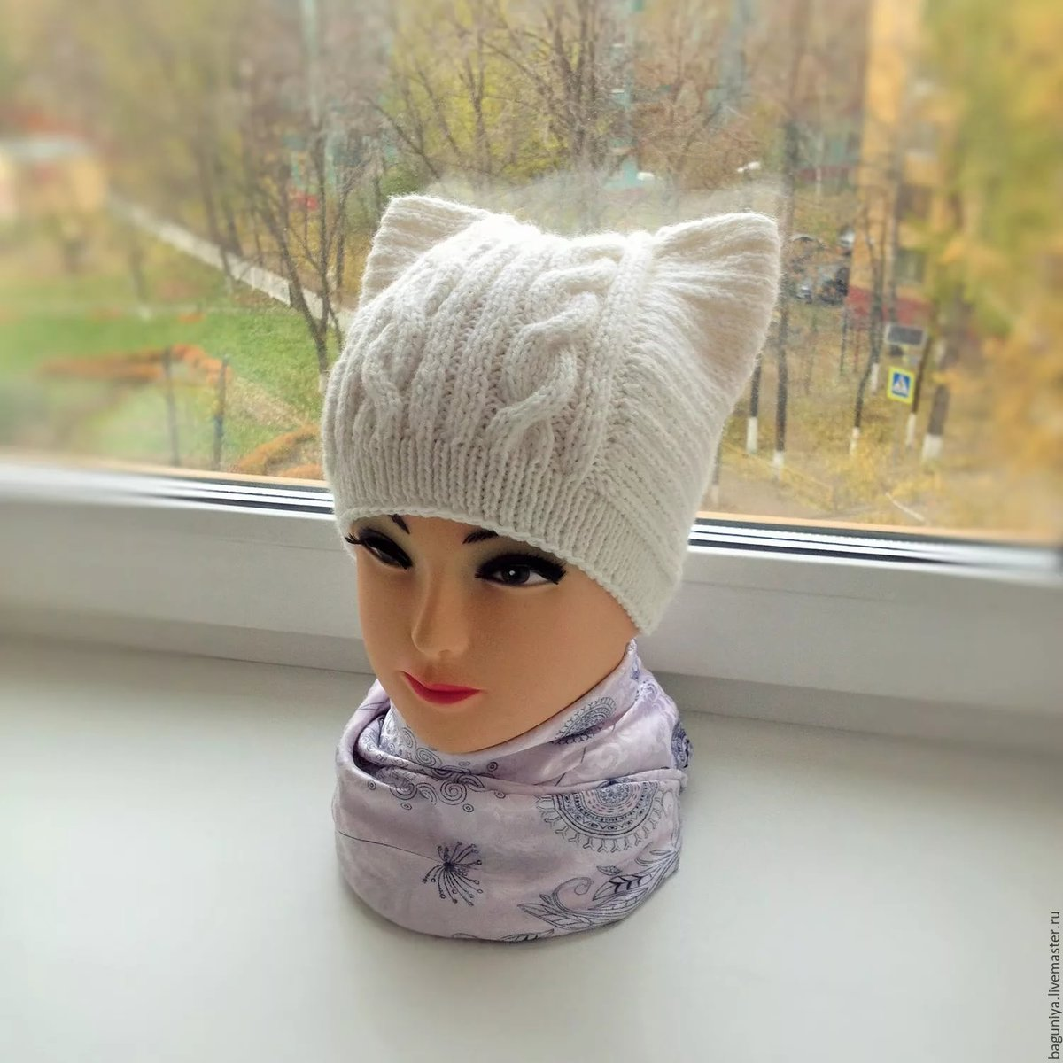 Вязание на спицах шапки с ушами