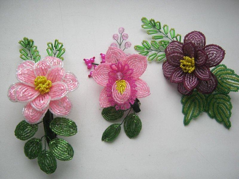 Заколка цветок из бисера своими руками