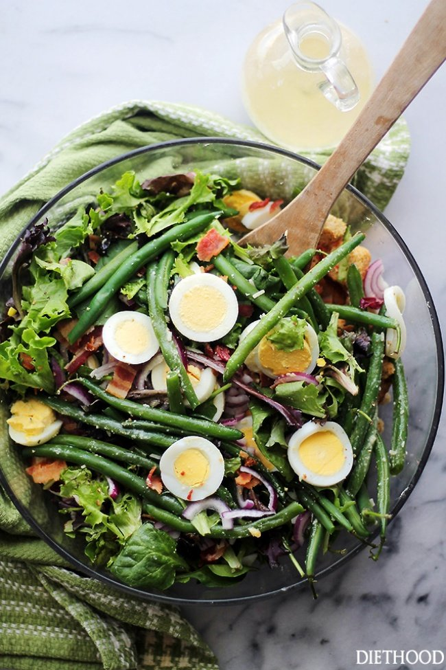 Салат с стручковой фасолью яйцом